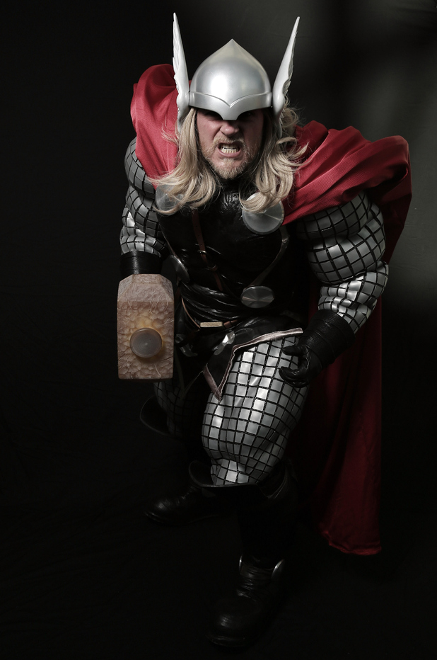 NEW YORK, NY - OCTOBER 12: Comic Con attendee Mark Smith poses as Thor during the 2014 New York Comic Con at Jacob Javitz Center on October 12, 2014 in New York City. (Photo by Neilson Barnard/Getty Images)