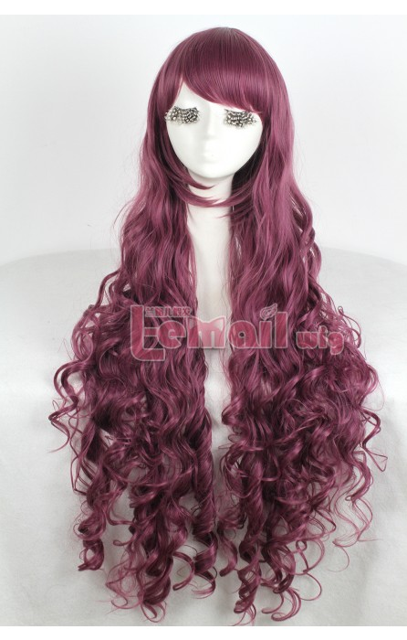 90cm wine red Curly Wavy cosplay wig long women hair