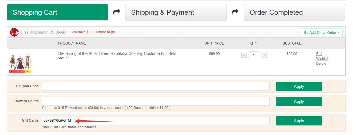 How to use a Gift Card on RoleCosplay shop-3