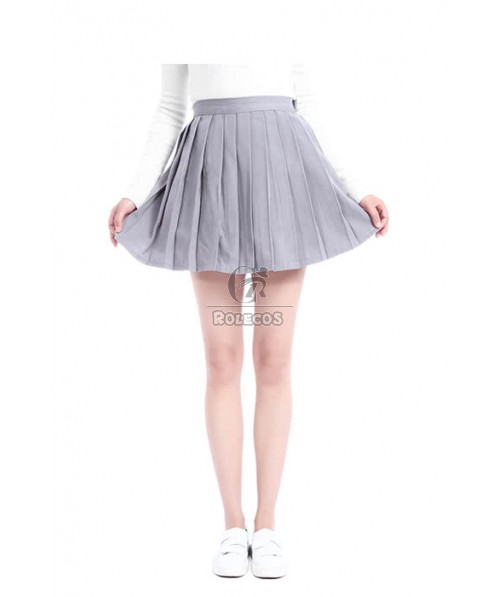 High School Girl Sweet Solid Pleated Skirt Dress