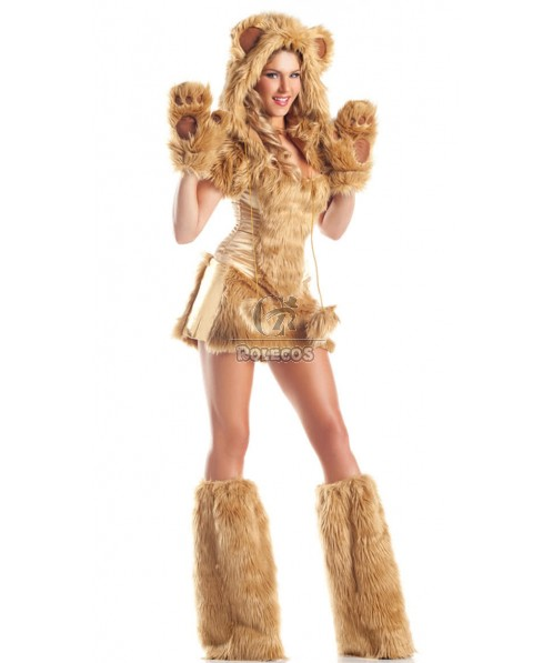 Sexy Furry Animal costume halloween adult uniform Brown and Yellow two colors