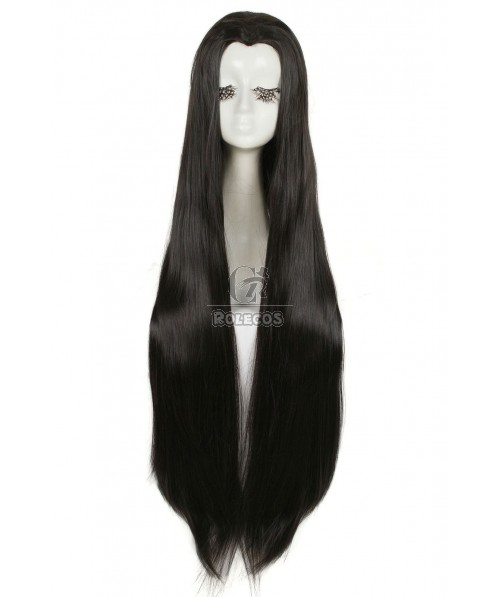 100cmTip Black Straight Widow's Peak Hairpiece Cosplay Wigs