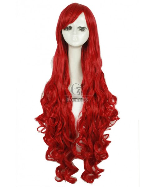 100cm Long Fashion Cosplay Wigs Red Wavy Women Hair