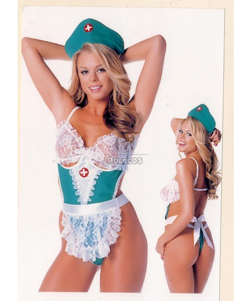 New Arrival Blue Sexy Nurse Costume with White Lace
