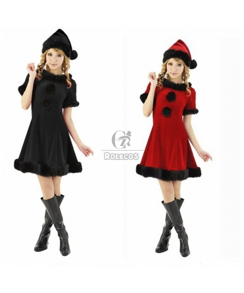Tow colors Christmas costumes beautiful dress short sleeve uniform