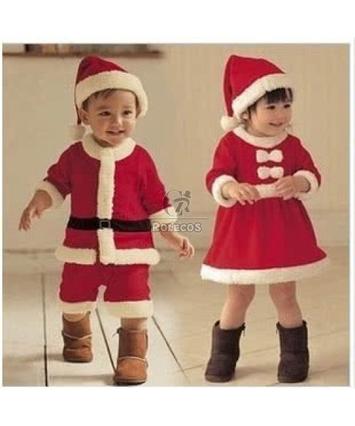 Red Children Christmas Costumes with Cute Hat