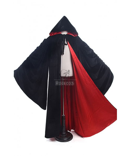 Halloween Cloaks For Men Women Black Hooded Costumes With Sleeves GC206