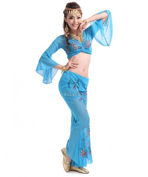 Three colors Genie cosplay Halloween costume with special design on the waist