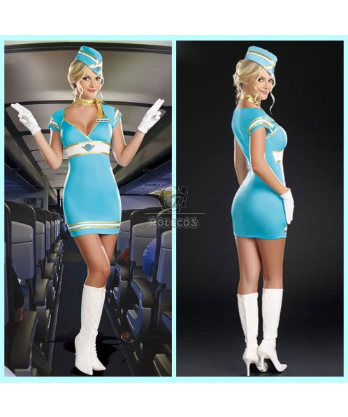 New hot Sexy Flight Attendant Costume for Women sexy Blue fancy dress
