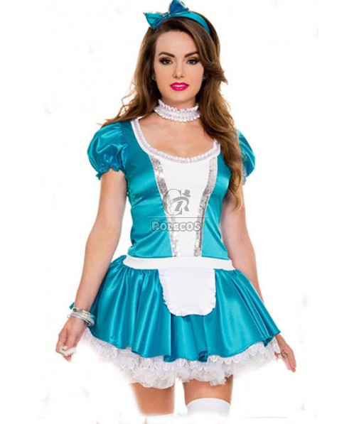 Blue Sexy Bowknot French Maid Costumes Stage Equipment Cosplay Dress