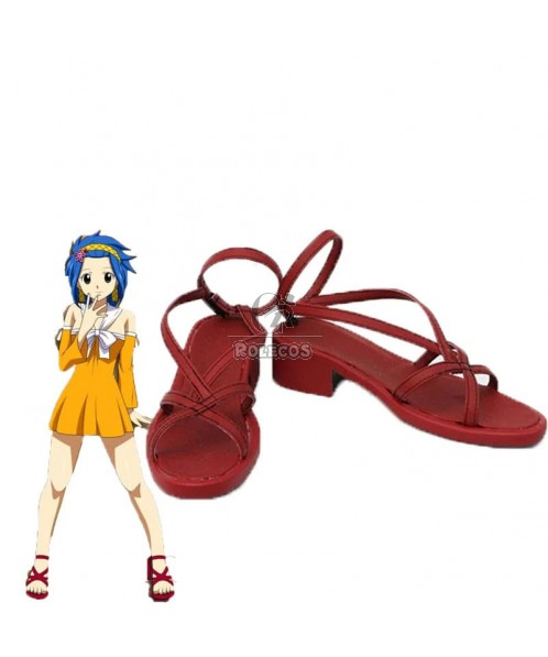 Fairy Tail Anime Levy Mcgarden Cosplay Shoes Red