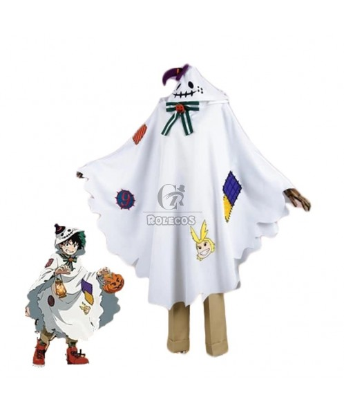 BNHA MHA Izuku Midoriya White Anime Cosplay Costumes Long Cloaks