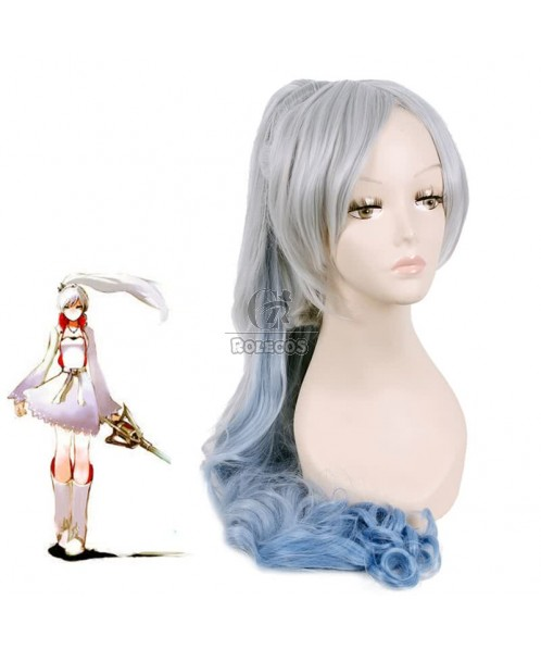 120cm Grey Fade Blue White Trailer Cos Wig With Ponytail