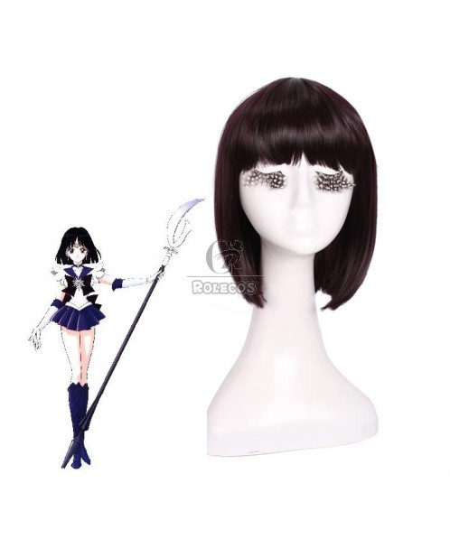 30cm Black Purple Cosplay Wig Sailormoon Tomoe Hotaru Neat bangs girls hair