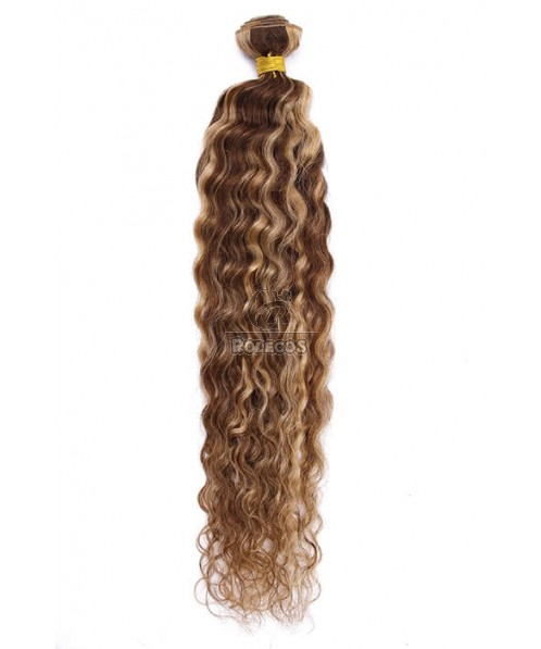 Human Hair Piece 22inch Wave Mixed Color Human Hair Extension YHWFCW100-22-4/27