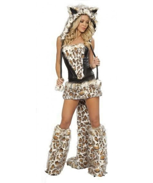 Leopard fur animal halloween costume Wolf party Uniform with big tail