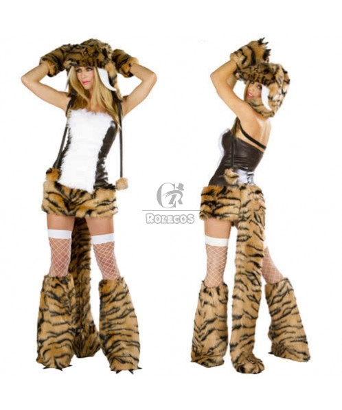 Leopard Attractive Halloween Tiger animal Costumes with hat gloves scoks one suit