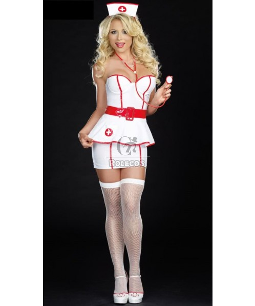 Hot Sexy White Nurse Costume with Red Edge for Adult Women Fashion Outfit