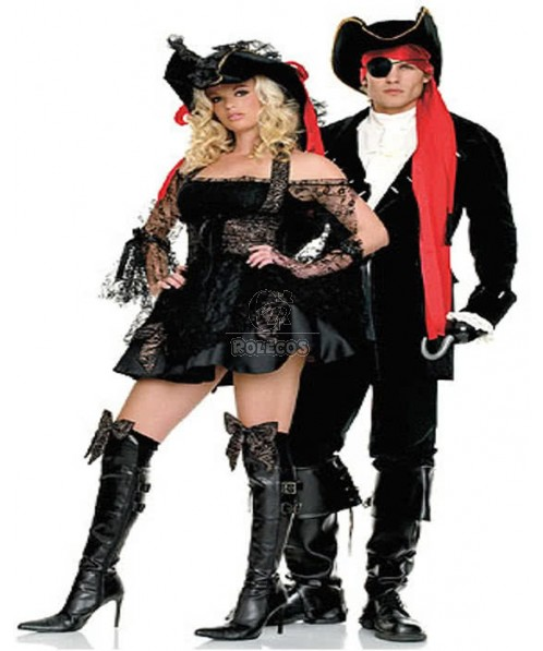 Couples Pirate Halloween Costume For Sexy Adult Lady Captain Man Corsair Cosplay Dress