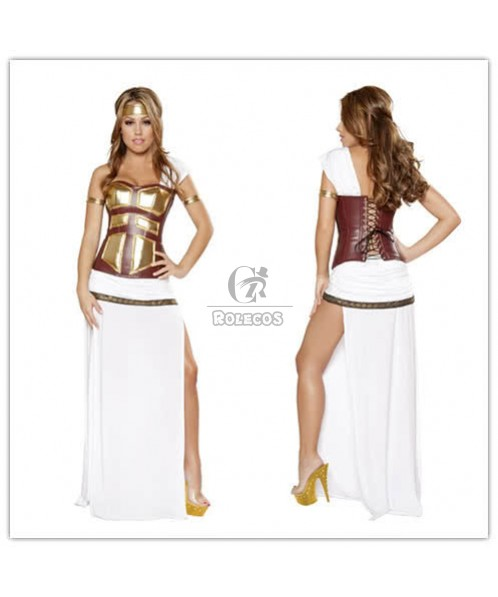 Golden and White Cleopatra Halloween Costumes Cosplay Game Uniforms
