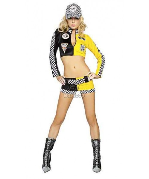 Yellow Black racer girl costume car driver suit for women