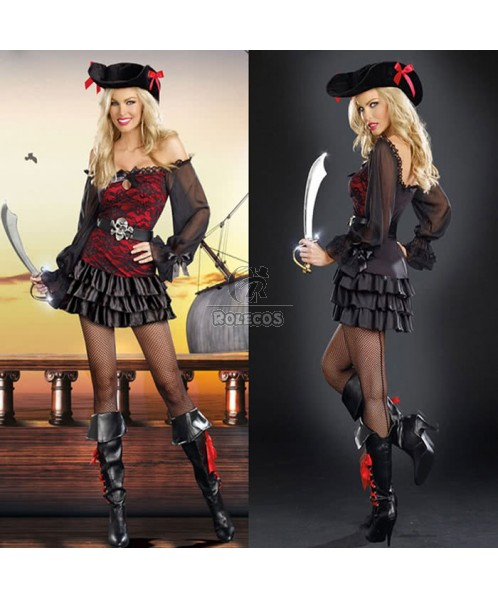 Black And Red Pirate Halloween Costumes For Sexy Women Fancy Dress