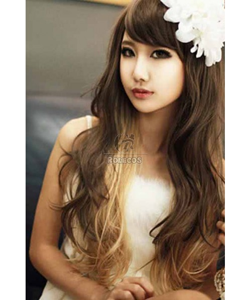 65cm Sweet Lady's Long Curly Hair Wig Color Gradient Harajuku