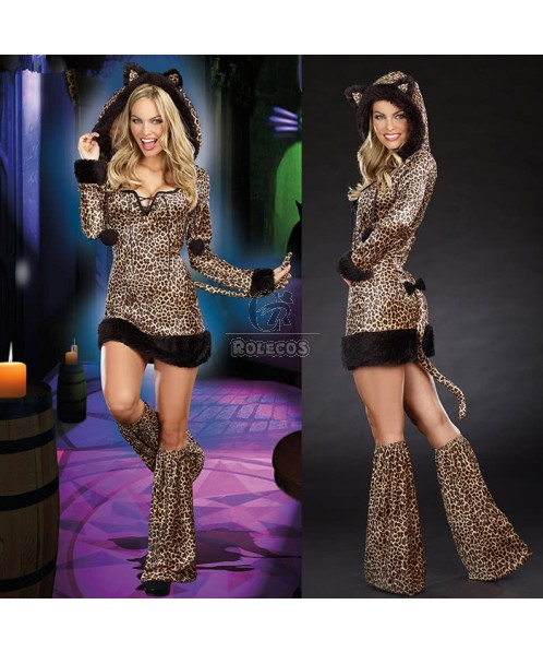 Hooded Jumpsuit Catwoman Halloween Costume for Ladies Fancy Dress