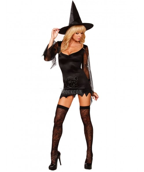 Halloween witches, devils, costumes, evening singer, stage performance costume