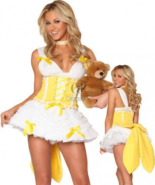 White and Yellow Fairytale Cosplay Costume  for Ladies Princess Fancy Dress