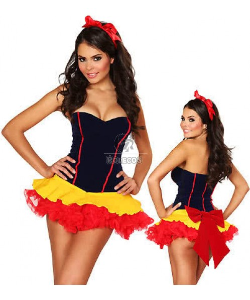 Short Dress Snow White Halloween Custome With Red Bowknot for Women