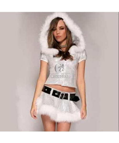 2015 New silver Christmas costumes short skirt warm clothing for winter
