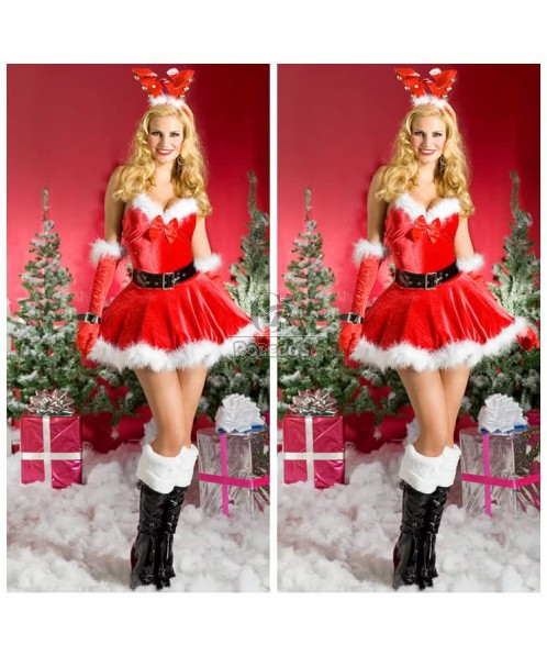 Lovely Sweet red christmas costumes party dress with cute headwear