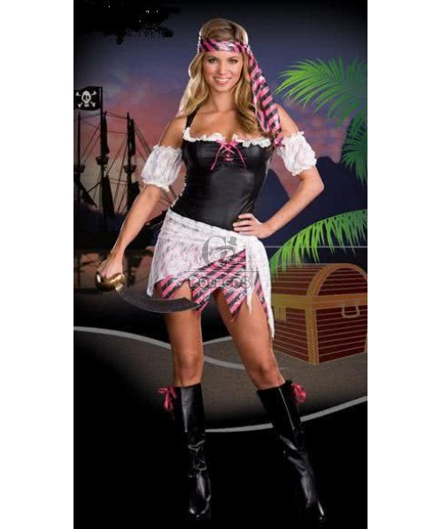 White Lace Pirate Halloween Costume For Game Anime Role Cosplay