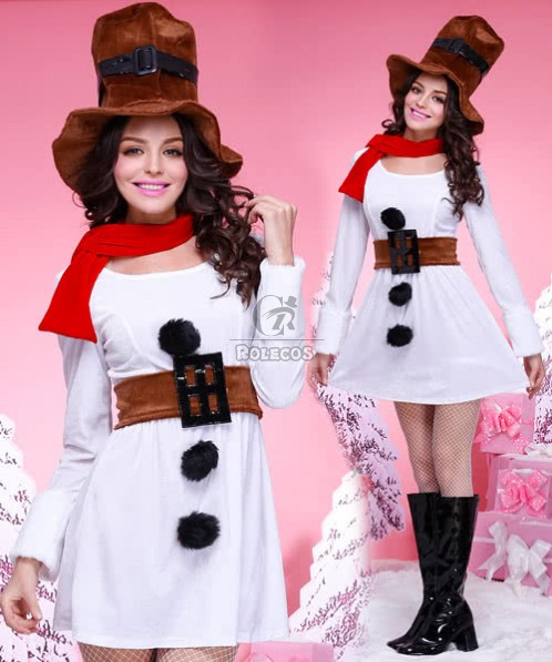 2015 New Style White Princess Christmas Costumes With Brown Hat