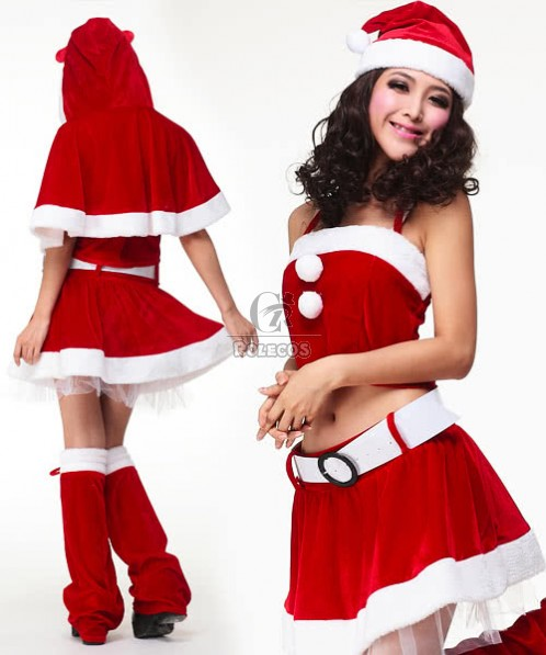 Mrs Santa Claus Costume Carnival Clothes with Cute Cape