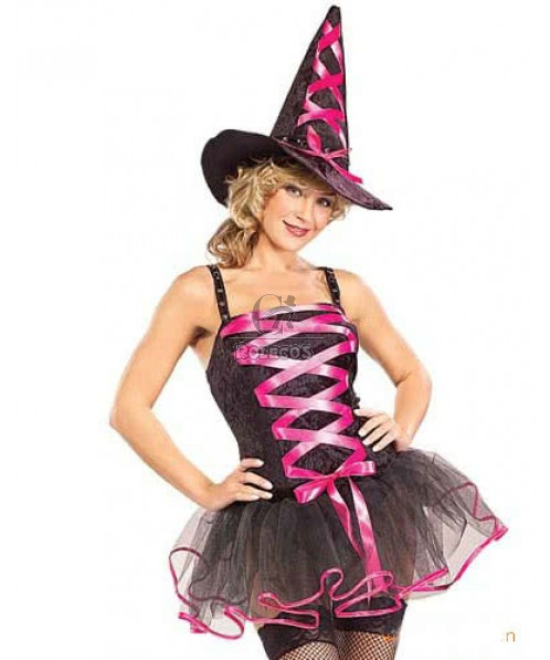 Womens Halloween witch cosplay costume two bright color rope bowknot