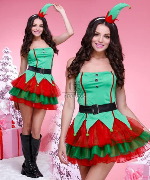 High quality Christmas elf costume princess dress cute headwear