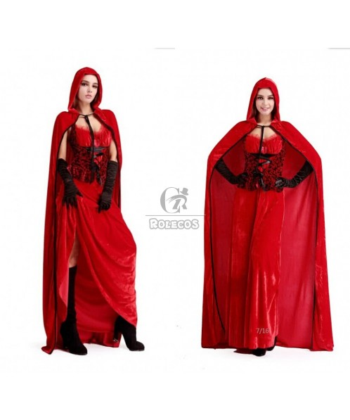 Red long cape for Christmas costume dress lace design high quality