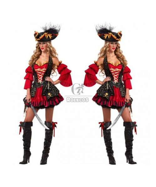 Red And Black Pirate Halloween Costume For Adult Women Party Fashion Dress