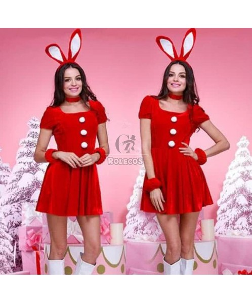 Christmas Santa Claus costume party dress with cute headwear