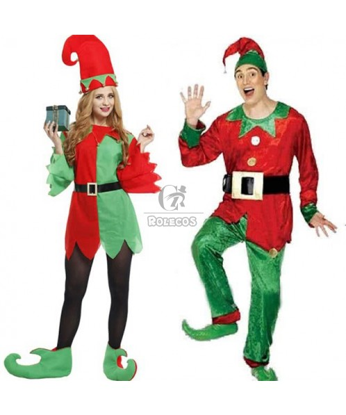 Funny couples Christmas costumes perform uniforms green mix red suit