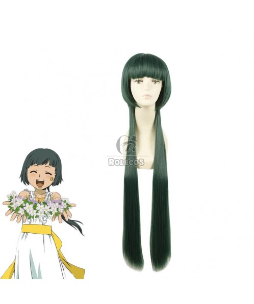 100CM Long Green Cosplay Wig Straight Hair Hitman Reborn Yuni