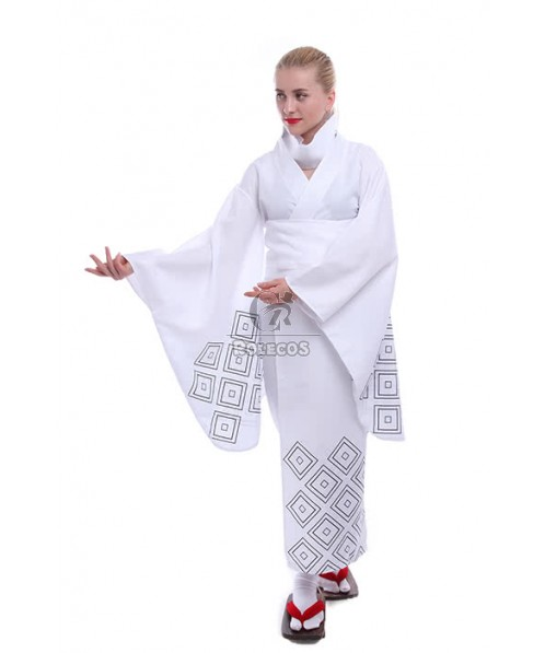 Nurarihyon no Mago Anime Cosplay Costumes White Printed Kimonos
