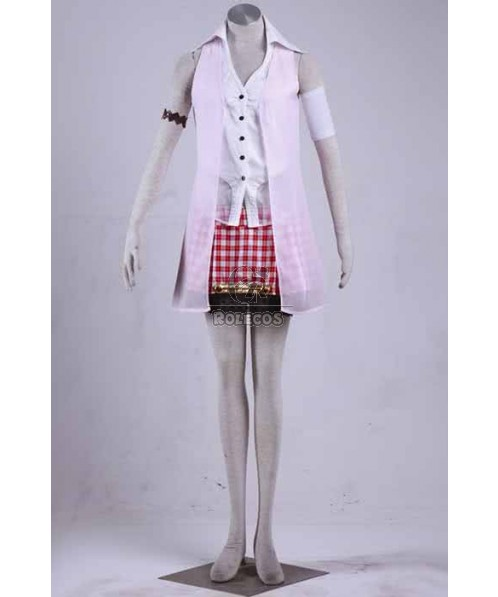 Final Fantasy 13  Sarah Red Plaid Skirt Suit Cosplay Costumes