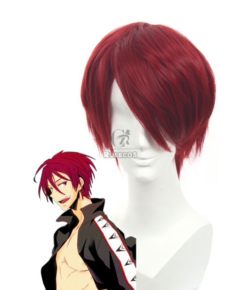 Free!Eternal Summer Rin Matsuoka Claret-red Short Straight Cosplay Wigs
