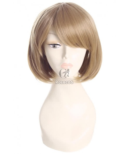 35cm Light Brown Straight Party Hair BOB Cosplay Wigs