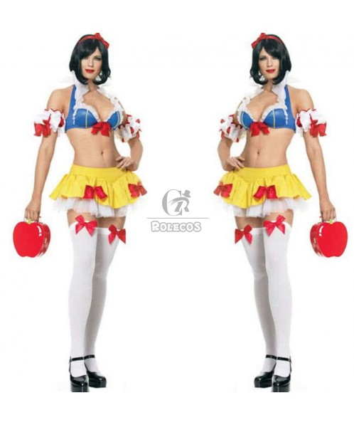Red Bowknot Sexy Princess Snow White Halloween Costume Blue and Yellow Fancy Dress