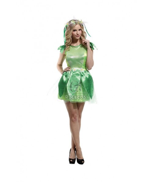 Forest Elf Female Adult Sexy Green Elf Cosplay Costume
