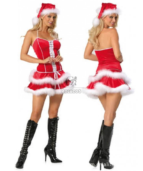 Sexy christmas costumes mrs claus party cloth red dress